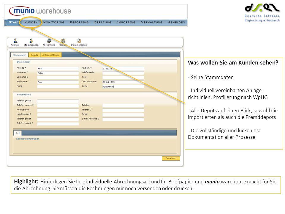 Reporting – Sie können: - Reports über mehrere Kunden, Depots, Cash- konten erstellen - Reports im Batchlauf zu bestimmten Zeitpunkten erstellen - Automatisch die Reports an Kunden versenden oder alle ausdrucken lassen