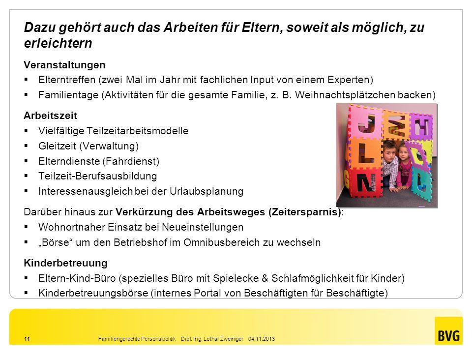Familiengerechte Personalpolitik Dipl. Ing. Lothar Zweiniger 04.11.201311 Dazu gehört auch das Arbeiten für Eltern, soweit als möglich, zu erleichtern