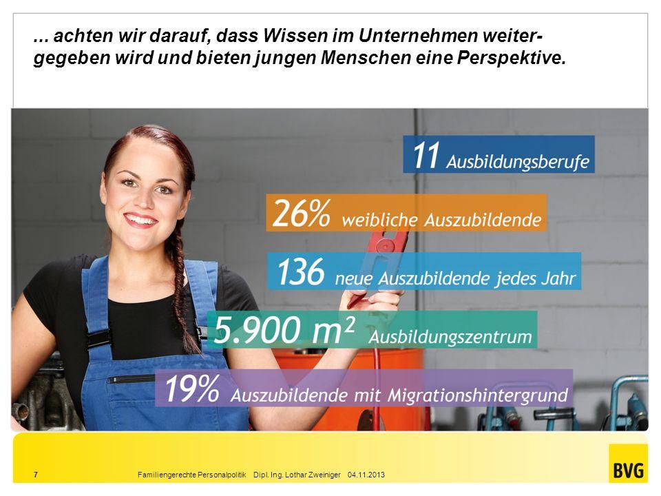 Familiengerechte Personalpolitik Dipl. Ing. Lothar Zweiniger 04.11.20137... achten wir darauf, dass Wissen im Unternehmen weiter- gegeben wird und bie