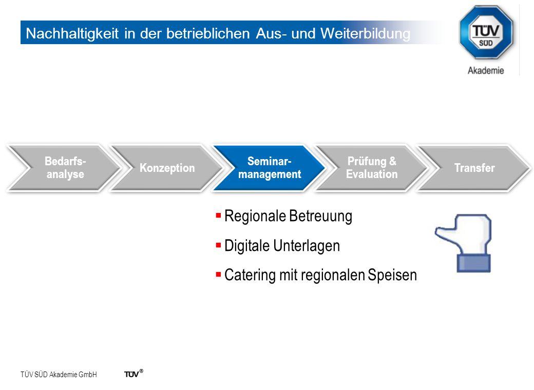 TÜV SÜD Akademie GmbH Nachhaltigkeit in der betrieblichen Aus- und Weiterbildung Bedarfs- analyse Konzeption Seminar- management Prüfung & Evaluation