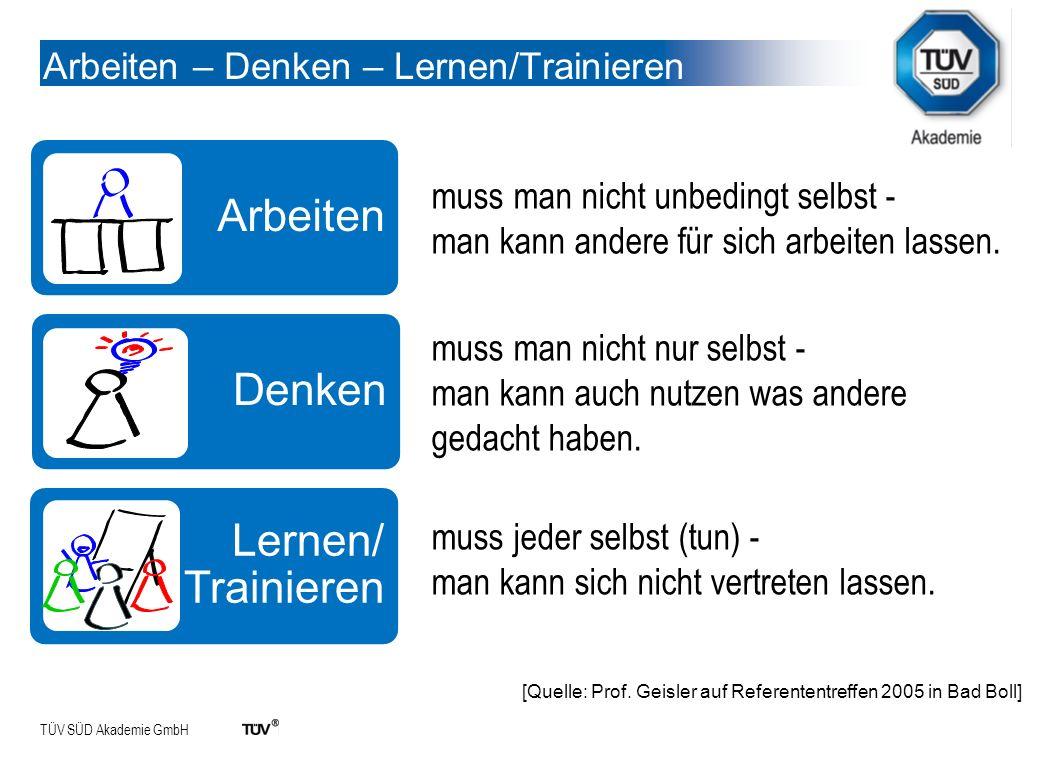 TÜV SÜD Akademie GmbH Arbeiten – Denken – Lernen/Trainieren Arbeiten Denken Lernen/ Trainieren muss man nicht unbedingt selbst - man kann andere für s