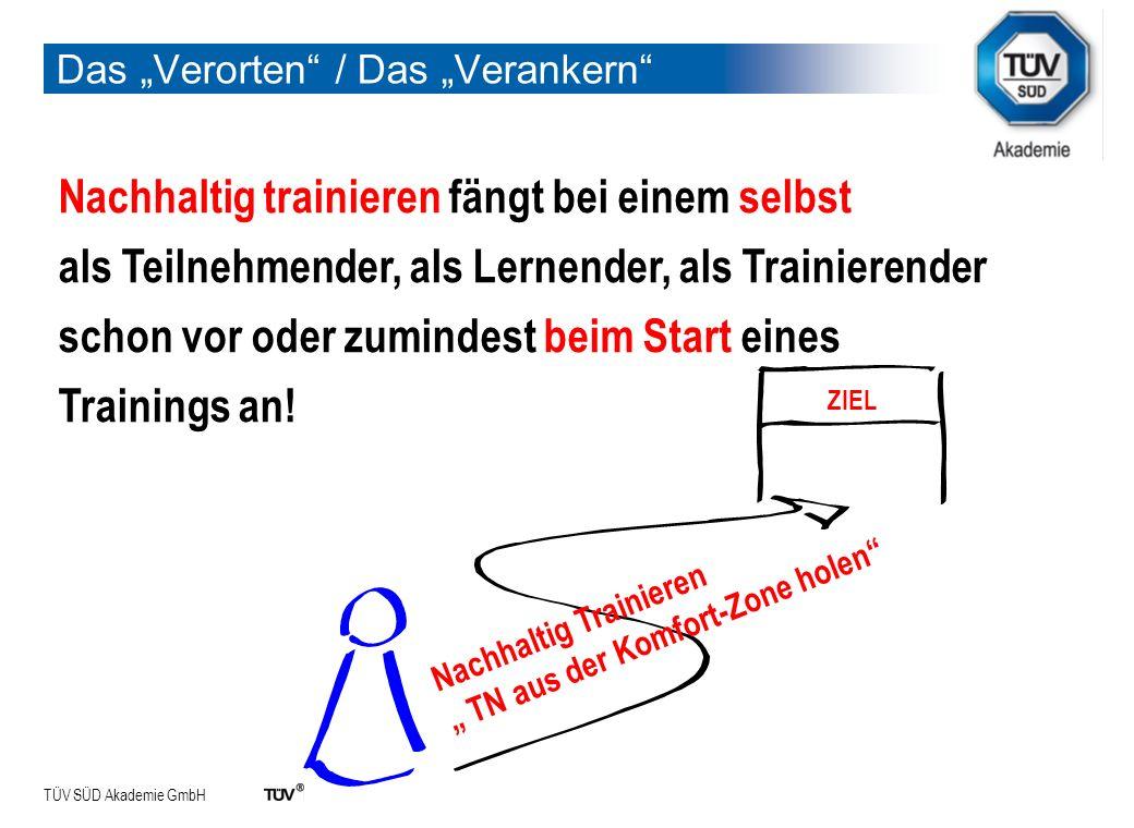 TÜV SÜD Akademie GmbH Das Verorten / Das Verankern Nachhaltig trainieren fängt bei einem selbst als Teilnehmender, als Lernender, als Trainierender sc