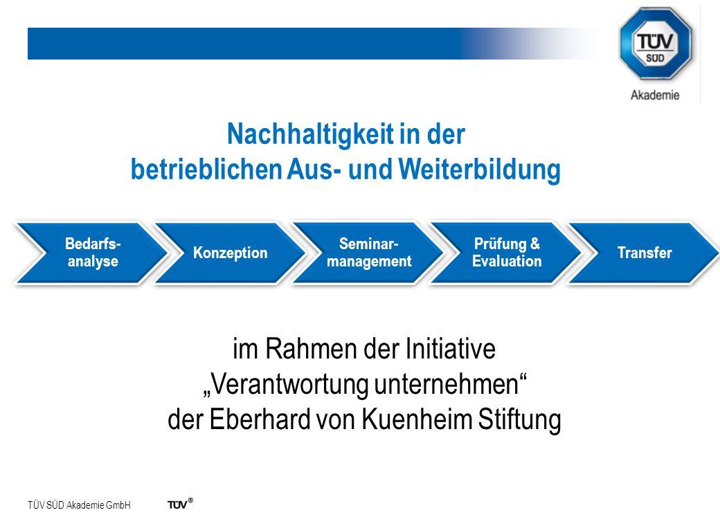 TÜV SÜD Akademie GmbH Bedarfs- analyse Konzeption Seminar- management Prüfung & Evaluation Transfer Nachhaltigkeit in der betrieblichen Aus- und Weite