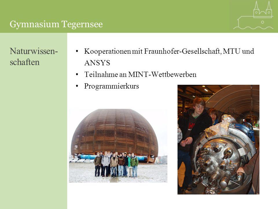 Gymnasium Tegernsee Kooperationen mit Fraunhofer-Gesellschaft, MTU und ANSYS Teilnahme an MINT-Wettbewerben Programmierkurs Naturwissen- schaften