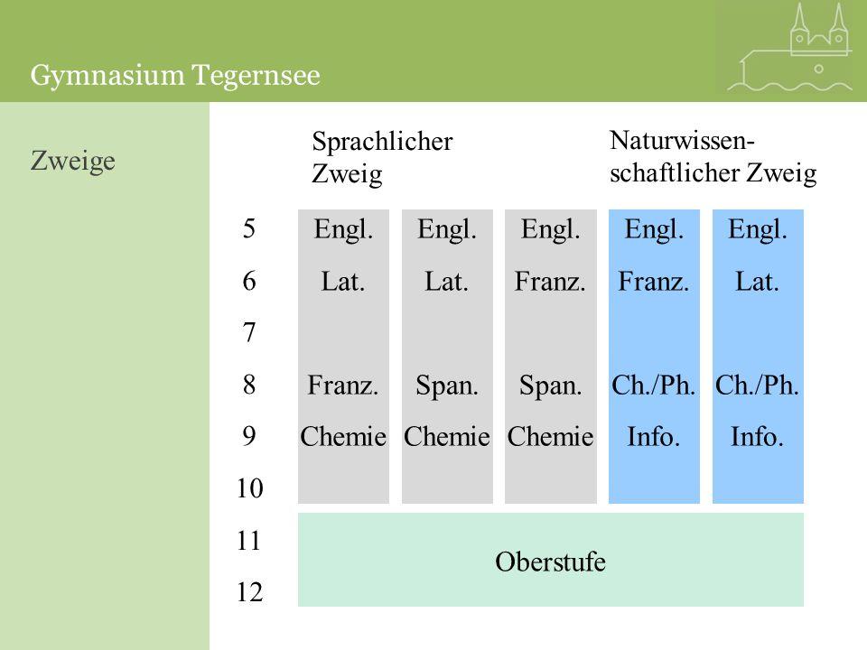 Gymnasium Tegernsee 5 6 7 8 9 10 11 12 Sprachlicher Zweig Oberstufe Engl. Lat. Franz. Chemie Engl. Lat. Span. Chemie Engl. Franz. Span. Chemie Engl. F