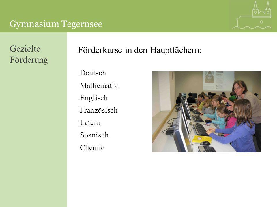 Gezielte Förderung Förderkurse in den Hauptfächern: Deutsch Mathematik Englisch Französisch Latein Spanisch Chemie