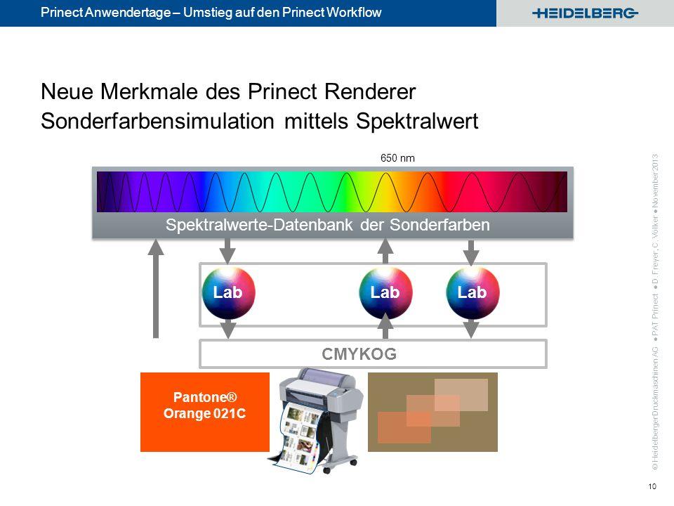© Heidelberger Druckmaschinen AG Prinect Anwendertage – Umstieg auf den Prinect Workflow Neue Merkmale des Prinect Renderer Multi-Color Farbraum 11 MetaDimension CMYKRGB + Prozess- farben Sonder- farben + Prinect Renderer CMYKRGB Prozessfarben PAT Prinect D.