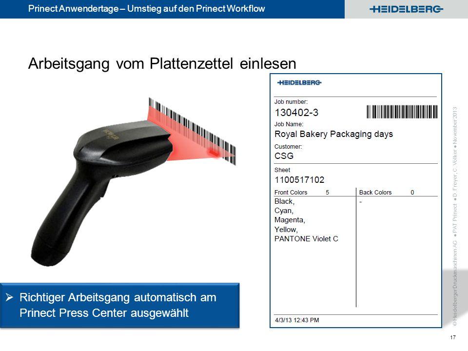 © Heidelberger Druckmaschinen AG Prinect Anwendertage – Umstieg auf den Prinect Workflow Arbeitsgang vom Plattenzettel einlesen PAT Prinect D. Freyer,