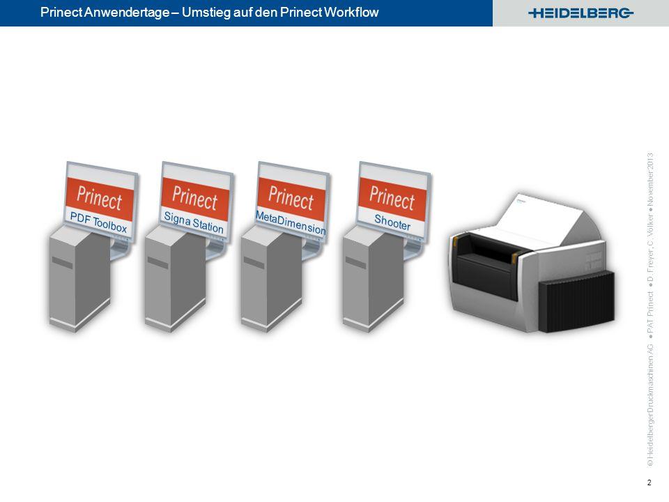 © Heidelberger Druckmaschinen AG Prinect Anwendertage – Umstieg auf den Prinect Workflow 2 Signa/Meta Workflow PAT Prinect D. Freyer, C. Völker Novemb