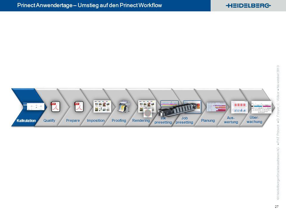 © Heidelberger Druckmaschinen AG Prinect Anwendertage – Umstieg auf den Prinect Workflow PAT Prinect D. Freyer, C. Völker November 2013 27 Kalkulation