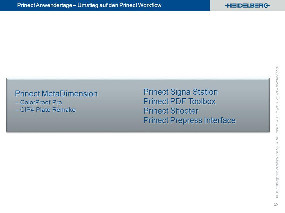 © Heidelberger Druckmaschinen AG Prinect Anwendertage – Umstieg auf den Prinect Workflow PAT Prinect D. Freyer, C. Völker November 2013 30 Prinect Pre