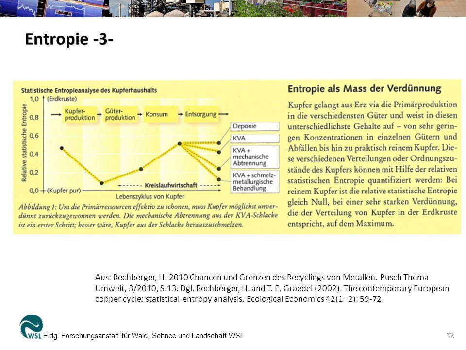 Entropie -3- Eidg. Forschungsanstalt für Wald, Schnee und Landschaft WSL 12 Aus: Rechberger, H. 2010 Chancen und Grenzen des Recyclings von Metallen.