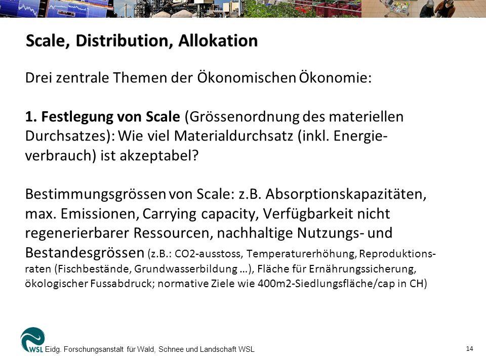 Scale, Distribution, Allokation Drei zentrale Themen der Ökonomischen Ökonomie: 1. Festlegung von Scale (Grössenordnung des materiellen Durchsatzes):