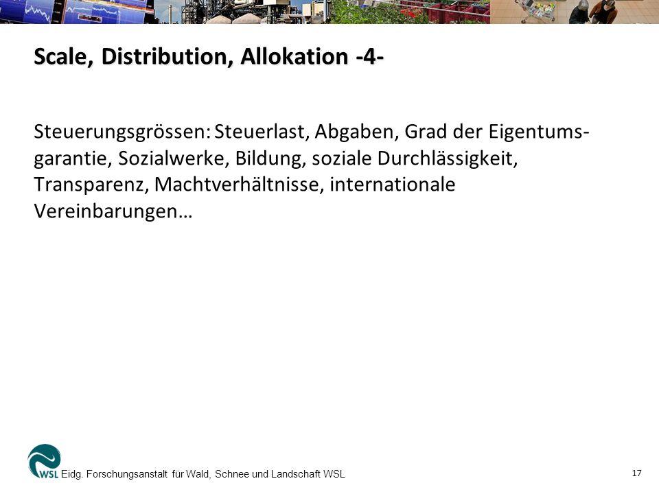 Scale, Distribution, Allokation -4- Steuerungsgrössen: Steuerlast, Abgaben, Grad der Eigentums- garantie, Sozialwerke, Bildung, soziale Durchlässigkei