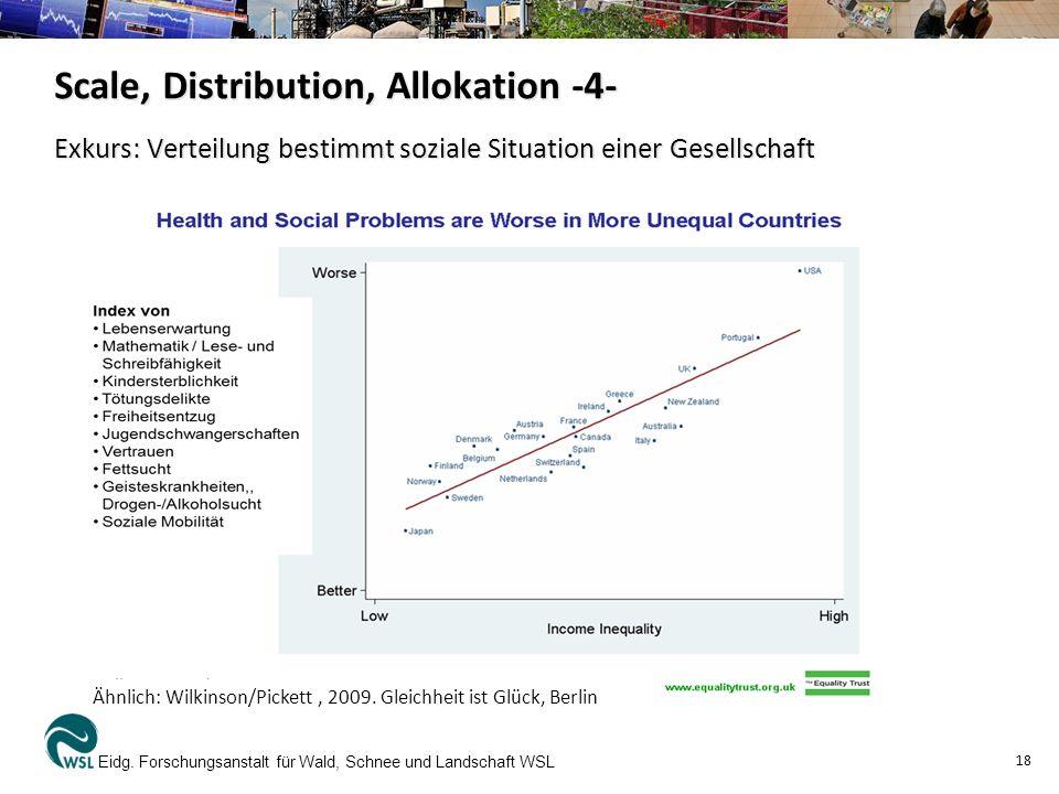 Exkurs: Verteilung bestimmt soziale Situation einer Gesellschaft Eidg. Forschungsanstalt für Wald, Schnee und Landschaft WSL 18 Scale, Distribution, A