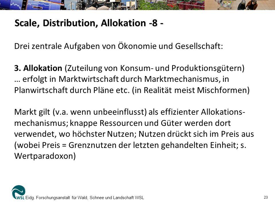 Scale, Distribution, Allokation -8 - Drei zentrale Aufgaben von Ökonomie und Gesellschaft: 3. Allokation (Zuteilung von Konsum- und Produktionsgütern)