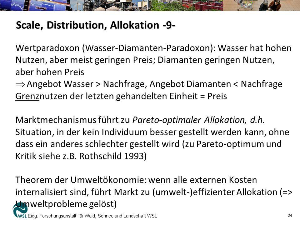 Scale, Distribution, Allokation -9- Wertparadoxon (Wasser-Diamanten-Paradoxon): Wasser hat hohen Nutzen, aber meist geringen Preis; Diamanten geringen