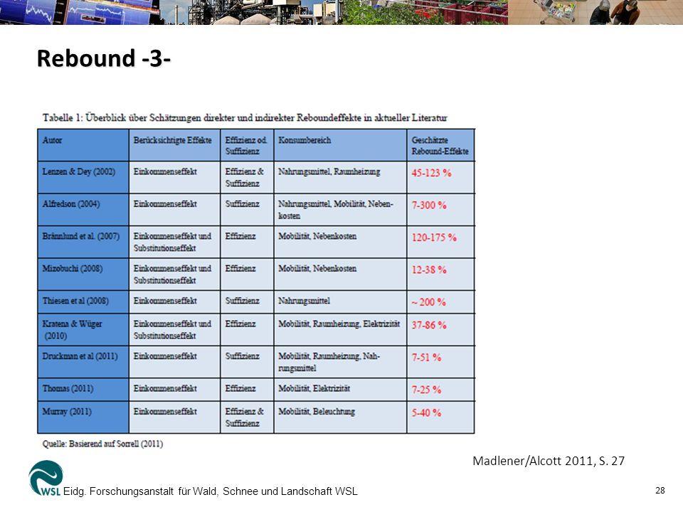 Eidg. Forschungsanstalt für Wald, Schnee und Landschaft WSL 28 Madlener/Alcott 2011, S. 27 Rebound -3-
