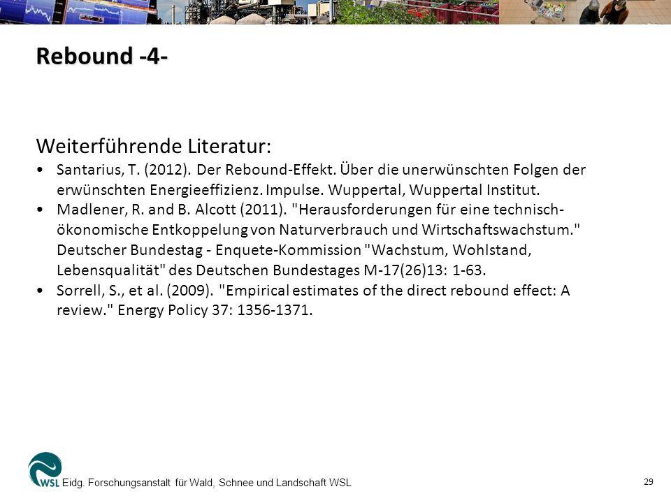 Weiterführende Literatur: Santarius, T. (2012). Der Rebound-Effekt. Über die unerwünschten Folgen der erwünschten Energieeffizienz. Impulse. Wuppertal