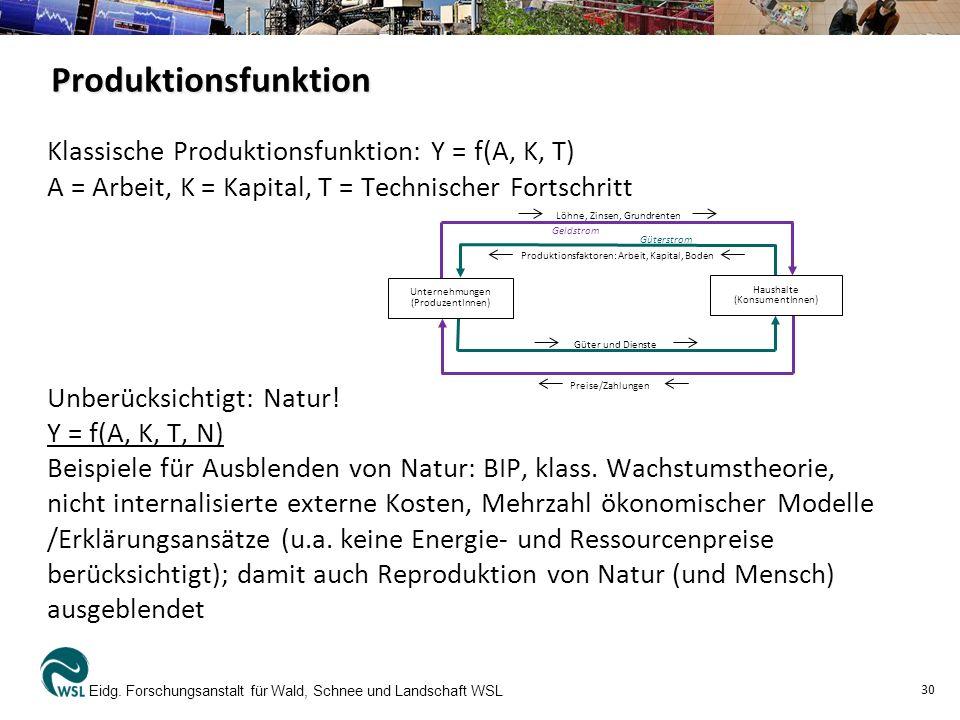 Produktionsfunktion Klassische Produktionsfunktion: Y = f(A, K, T) A = Arbeit, K = Kapital, T = Technischer Fortschritt Unberücksichtigt: Natur! Y = f