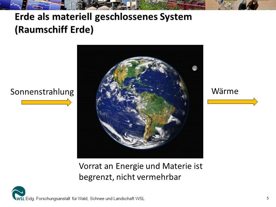 Erde als materiell geschlossenes System (Raumschiff Erde) Eidg. Forschungsanstalt für Wald, Schnee und Landschaft WSL 5 Sonnenstrahlung Wärme Vorrat a