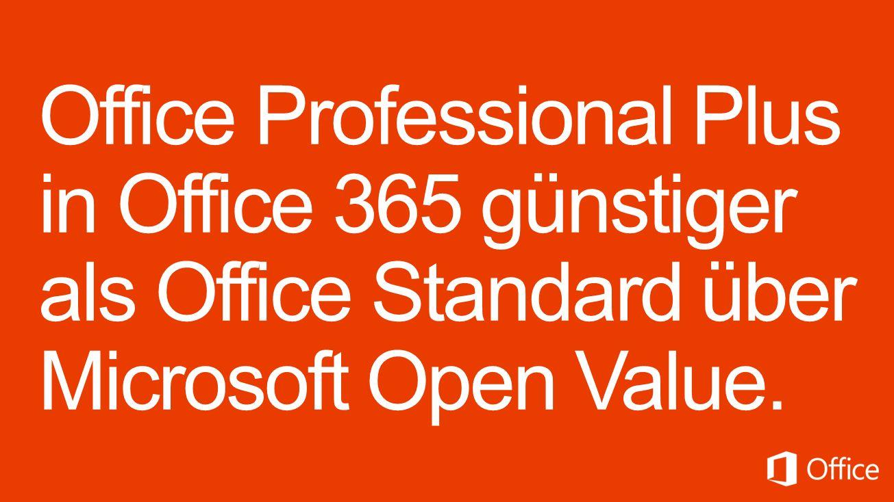 Microsoft Office 365 pro Lizenz/Jahr 147,60 Office 365 Midsize Business oder 154,80 Office 365 Professional Plus Microsoft Open Value pro Lizenz/Jahr 306,- Office Professional Plus 2013 – L&SA 150,- Office Professional Plus 2013 – SA Verzichtserklärung: Microsoft stellt dieses Material ausschließlich zu Informationszwecken zur Verfügung.