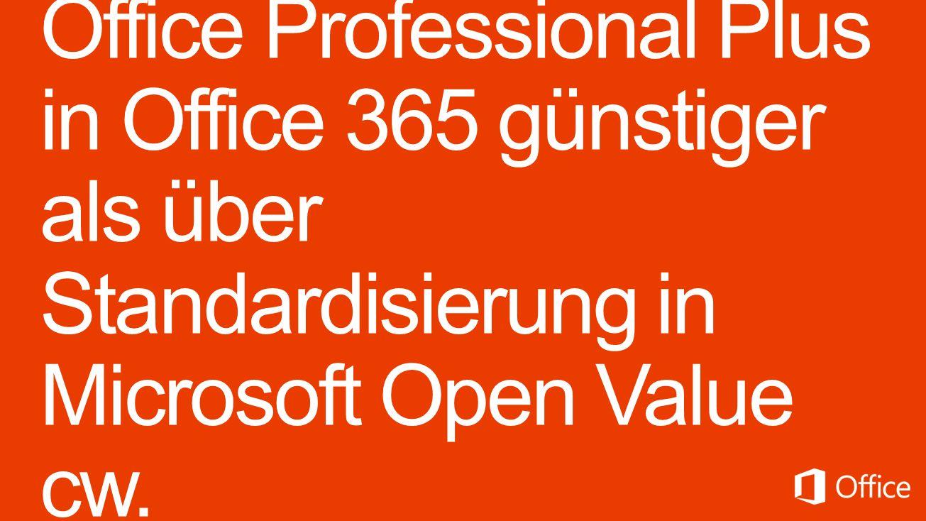 Microsoft Office 365 pro Lizenz/Jahr 142,00 Core CAL User – L&SA 68,00 Core CAL User – SA 147,60 Office 365 Midsize Business oder 154,80 Office 365 Professional Plus 89,00 Windows Enterprise for SA – L&SA 56,00 Windows Enterprise for SA – SA Microsoft Open Value pro Lizenz/Jahr 121,- Core CAL User – L&SA 64,- Core CAL User – SA 260,- Office Professional Plus 2013 – L&SA 143,- Office Professional Plus 2013 – SA 76,- Windows Enterprise for SA – L&SA 53,- Windows Enterprise for SA – SA Verzichtserklärung: Microsoft stellt dieses Material ausschließlich zu Informationszwecken zur Verfügung.