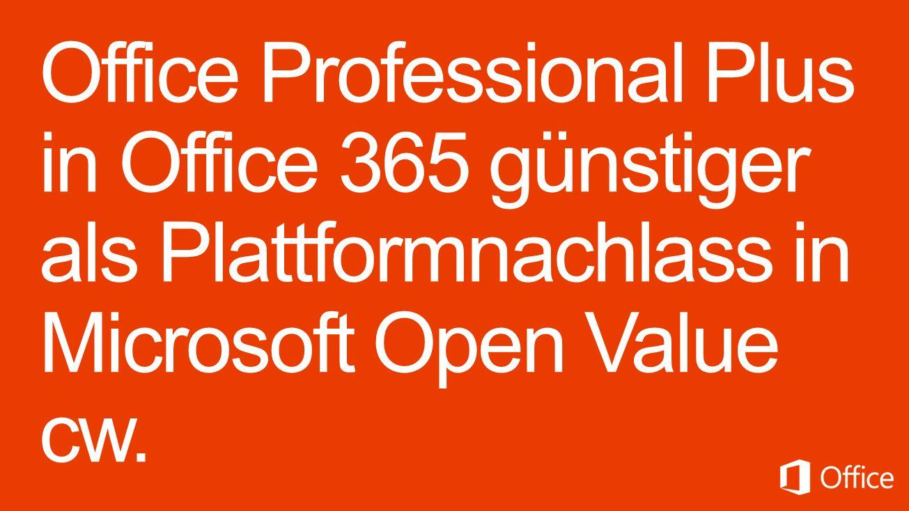 Microsoft Office 365 pro Lizenz/Jahr 147,60 Office 365 Midsize Business 154,80 Office 365 Professional Plus Microsoft Open Value Subscription pro Lizenz/Jahr 182,- Office Professional Plus 2013 – L&SA - 91,- Office Professional Plus 2013 – Up-to-Date-Nachlass im ersten Jahr Verzichtserklärung: Microsoft stellt dieses Material ausschließlich zu Informationszwecken zur Verfügung.