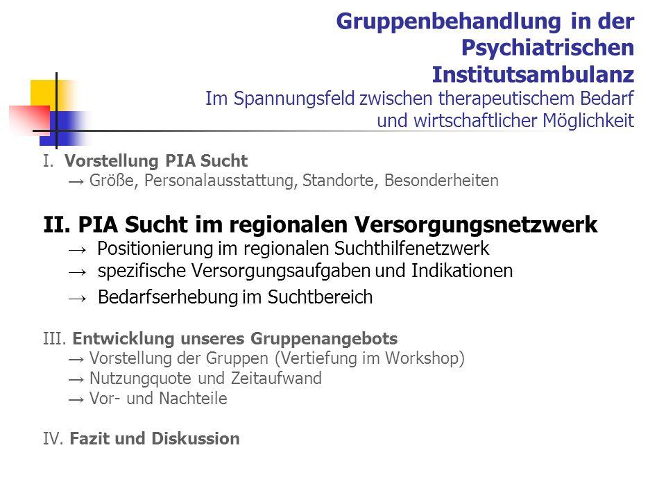 Gruppenbehandlung in der Psychiatrischen Institutsambulanz Im Spannungsfeld zwischen therapeutischem Bedarf und wirtschaftlicher Möglichkeit I.