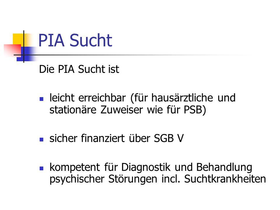 PIA Sucht Die PIA Sucht ist leicht erreichbar (für hausärztliche und stationäre Zuweiser wie für PSB) sicher finanziert über SGB V kompetent für Diagnostik und Behandlung psychischer Störungen incl.
