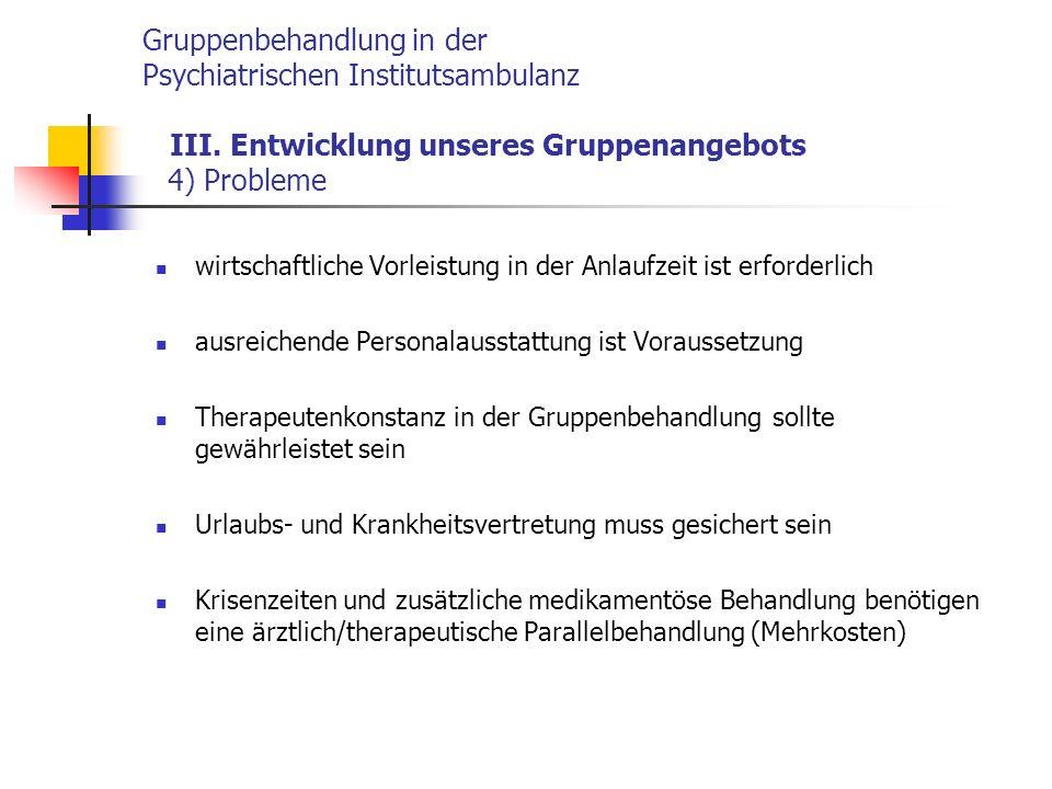 Gruppenbehandlung in der Psychiatrischen Institutsambulanz III.