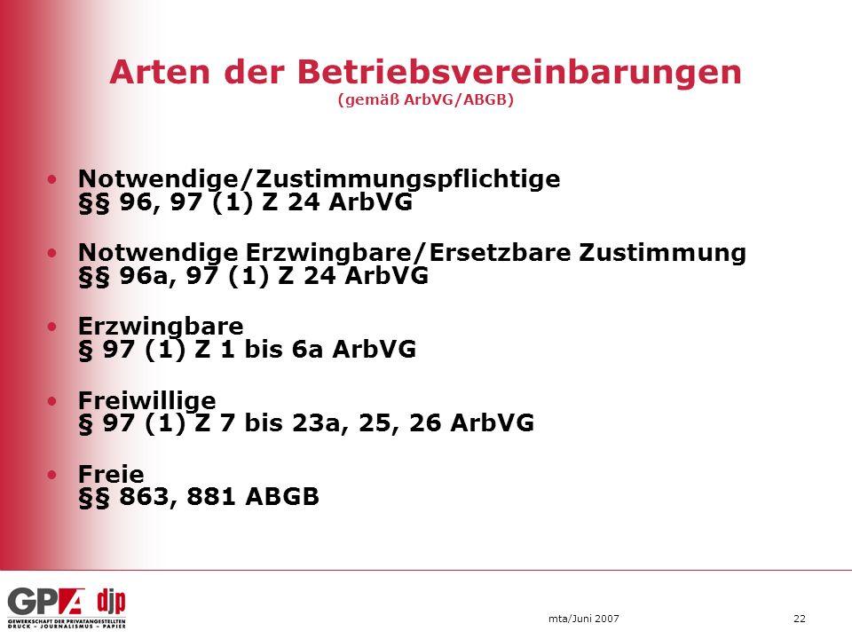 mta/Juni 200722 Arten der Betriebsvereinbarungen (gemäß ArbVG/ABGB) Notwendige/Zustimmungspflichtige §§ 96, 97 (1) Z 24 ArbVG Notwendige Erzwingbare/E