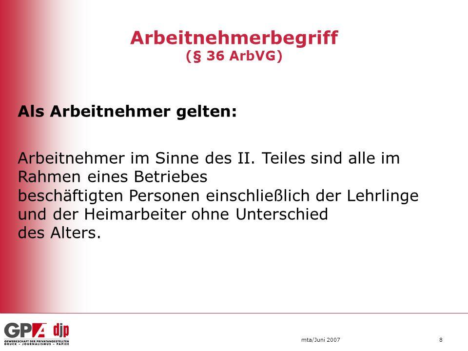 mta/Juni 20079 Arbeitnehmerbegriff (§ 36 ArbVG) Als Arbeitnehmer gelten aber nicht: In Betrieben einer juristischen Person die Mitglieder des Organs, das zur gesetzlichen Vertretung der juristischen Person berufen ist (zB.: Vorstandsmitglieder einer Aktiengesellschaft, Geschäftsführer einer GmbH).