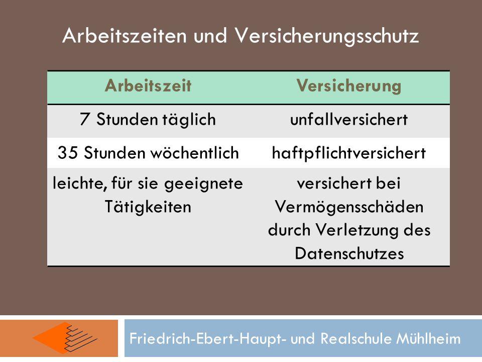 Friedrich-Ebert-Haupt- und Realschule Mühlheim Arbeitszeiten und Versicherungsschutz ArbeitszeitVersicherung 7 Stunden täglichunfallversichert 35 Stun