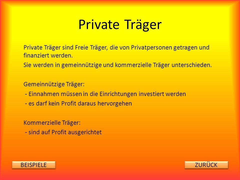 Private Träger Private Träger sind Freie Träger, die von Privatpersonen getragen und finanziert werden. Sie werden in gemeinnützige und kommerzielle T