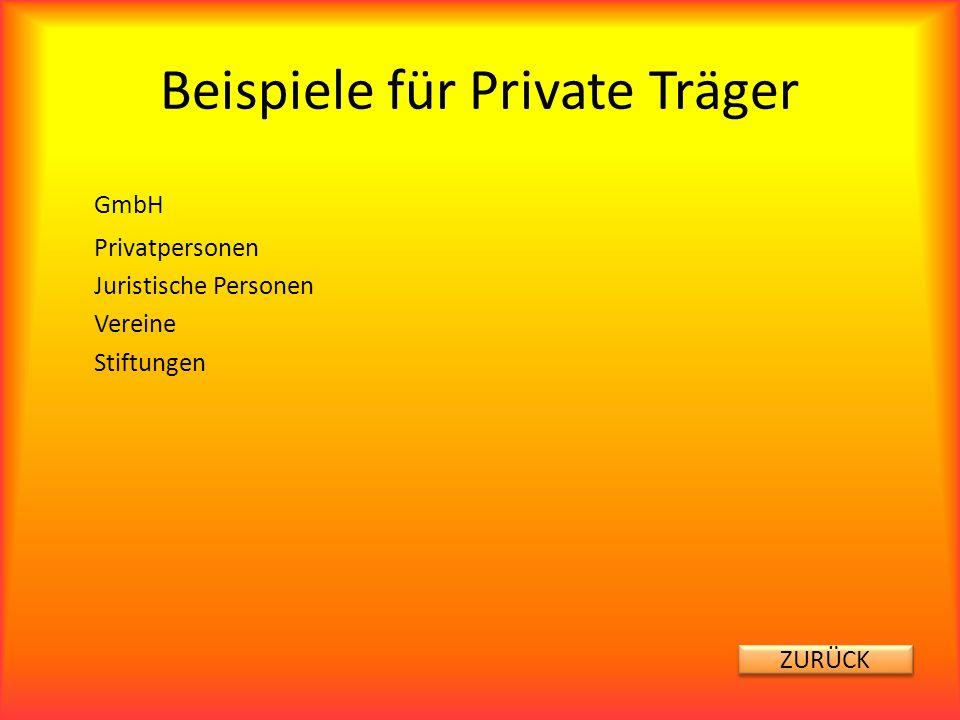 Beispiele für Private Träger GmbH Privatpersonen Juristische Personen Vereine Stiftungen ZURÜCK