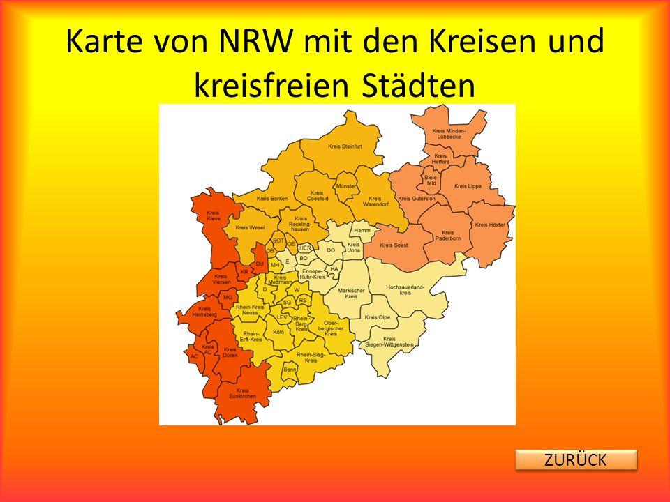 Karte von NRW mit den Kreisen und kreisfreien Städten ZURÜCK