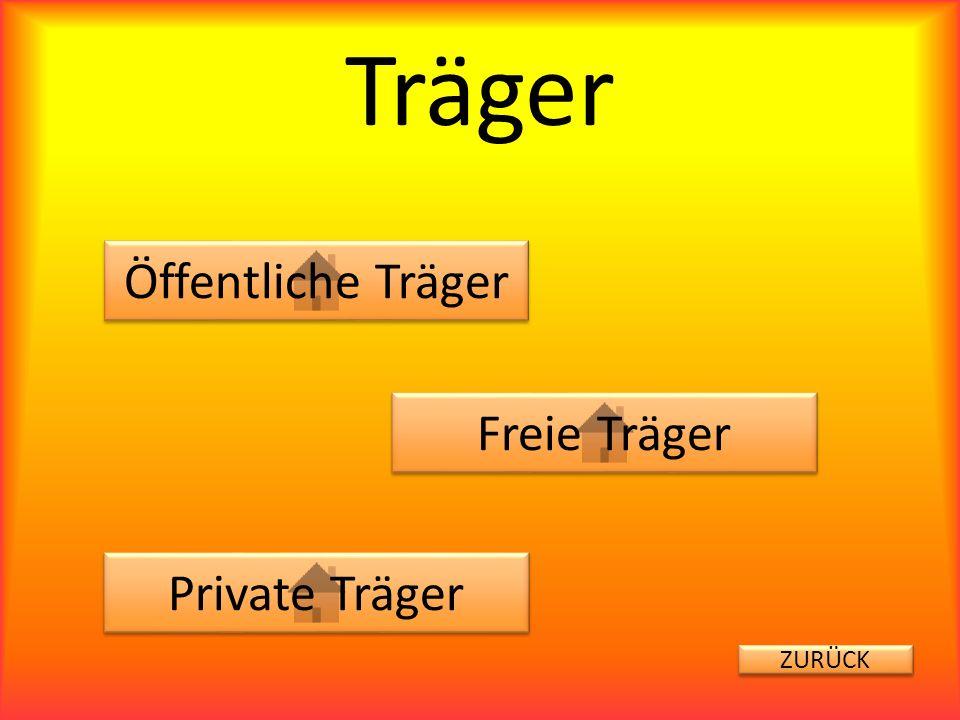 Träger Öffentliche Träger Freie Träger Private Träger ZURÜCK