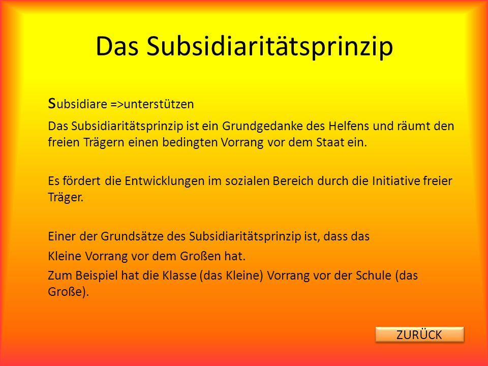 Das Subsidiaritätsprinzip s ubsidiare =>unterstützen Das Subsidiaritätsprinzip ist ein Grundgedanke des Helfens und räumt den freien Trägern einen bed
