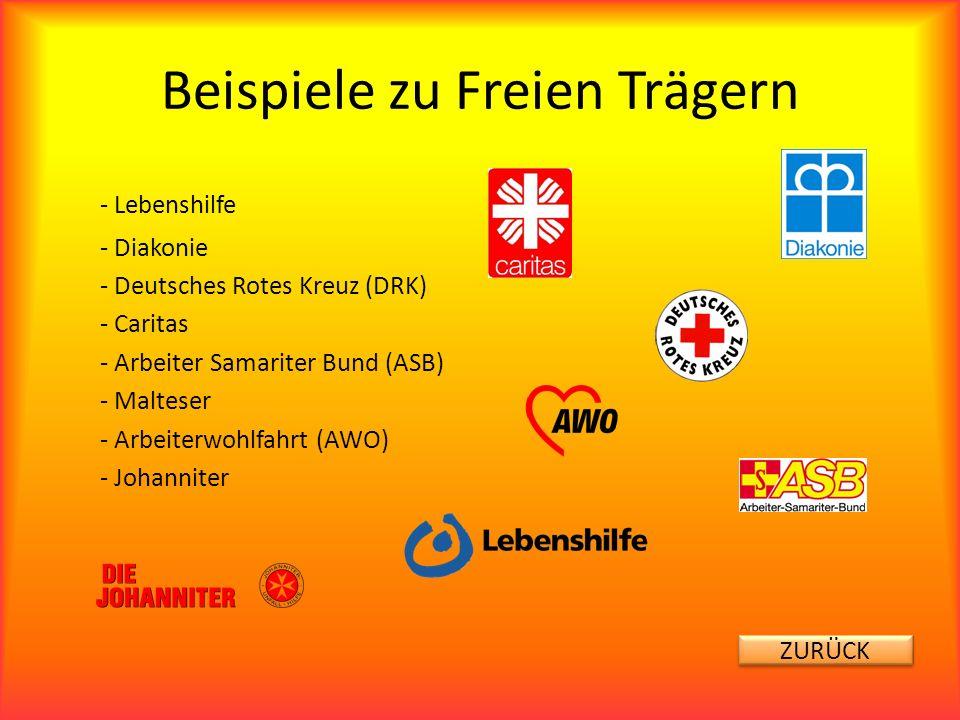 Beispiele zu Freien Trägern - Lebenshilfe - Diakonie - Deutsches Rotes Kreuz (DRK) - Caritas - Arbeiter Samariter Bund (ASB) - Malteser - Arbeiterwohl