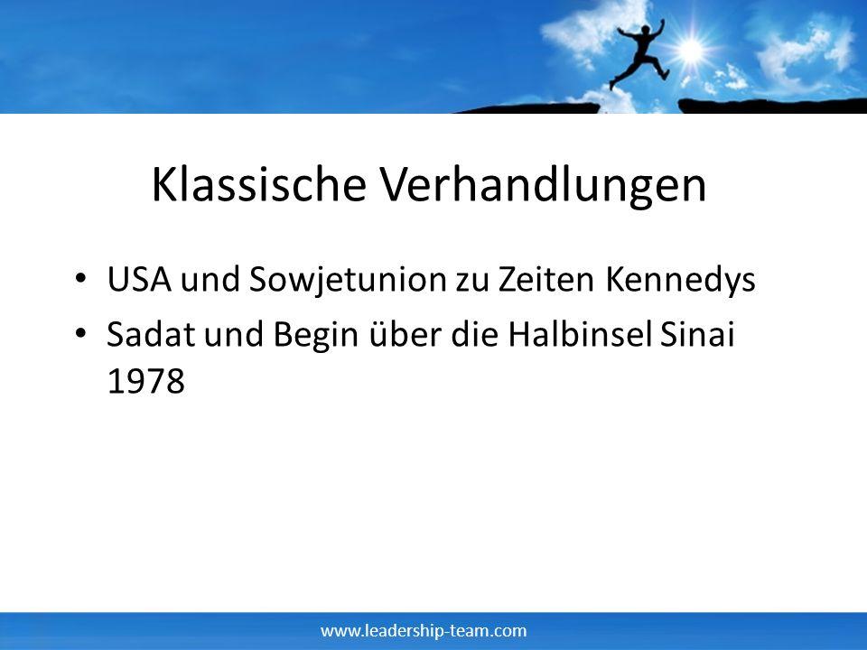 www.leadership-team.com Klassische Verhandlungen USA und Sowjetunion zu Zeiten Kennedys Sadat und Begin über die Halbinsel Sinai 1978