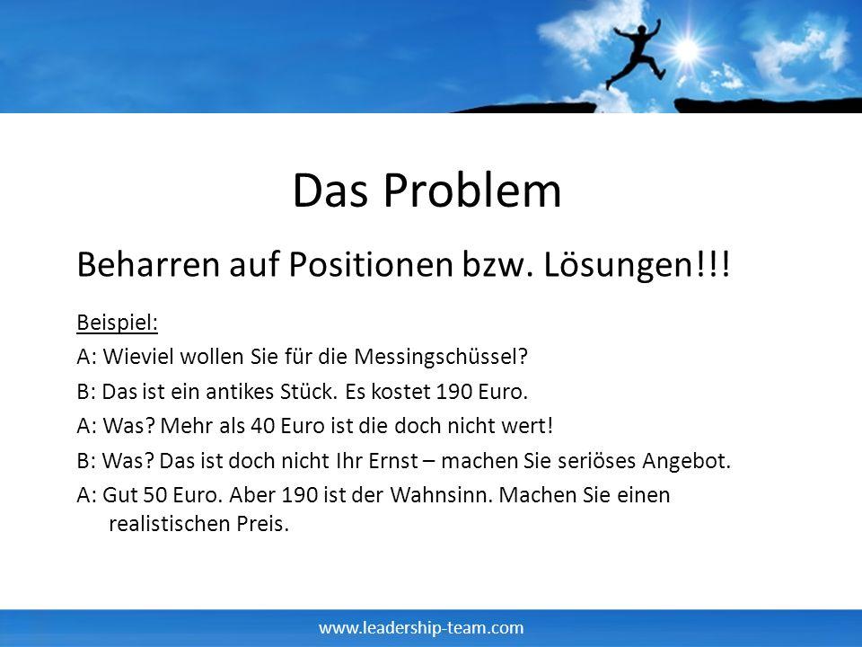 www.leadership-team.com Das Problem Beispiel: A: Wieviel wollen Sie für die Messingschüssel? B: Das ist ein antikes Stück. Es kostet 190 Euro. A: Was?