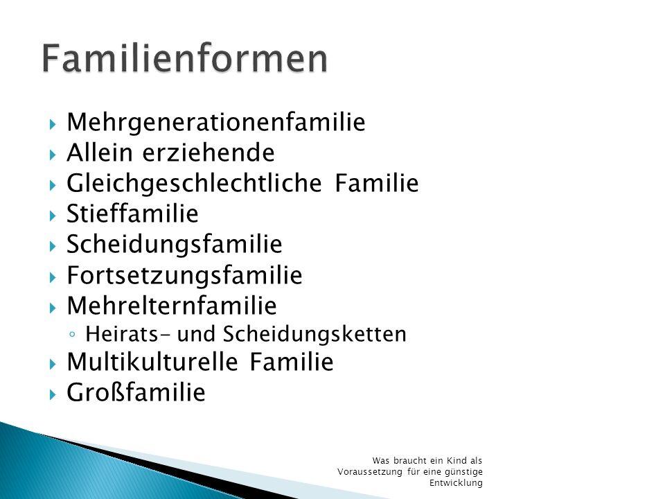 Mehrgenerationenfamilie Allein erziehende Gleichgeschlechtliche Familie Stieffamilie Scheidungsfamilie Fortsetzungsfamilie Mehrelternfamilie Heirats-