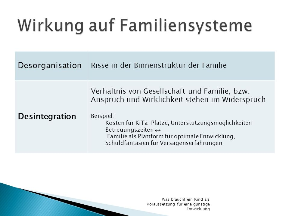 Desorganisation Risse in der Binnenstruktur der Familie Desintegration Verhältnis von Gesellschaft und Familie, bzw. Anspruch und Wirklichkeit stehen