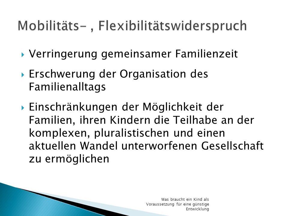 Verringerung gemeinsamer Familienzeit Erschwerung der Organisation des Familienalltags Einschränkungen der Möglichkeit der Familien, ihren Kindern die