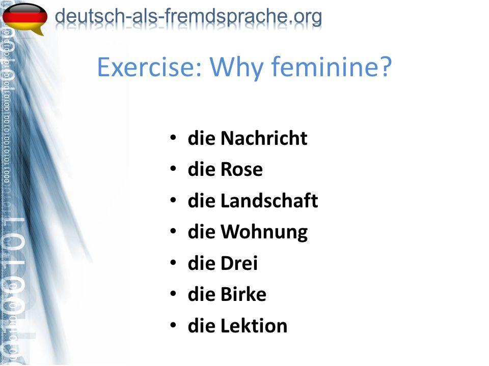die Nachricht die Rose die Landschaft die Wohnung die Drei die Birke die Lektion Exercise: Why feminine?