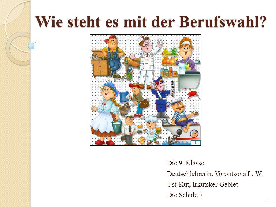 Wie steht es mit der Berufswahl. Die 9. Klasse Deutschlehrerin: Vorontsova L.