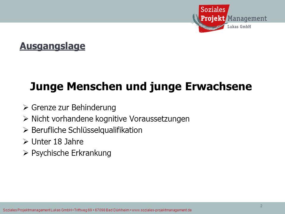 Soziales Projektmanagement Lukas GmbH Triftweg 69 67098 Bad Dürkheim www.soziales-projektmanagement.de 2 Ausgangslage Junge Menschen und junge Erwachs