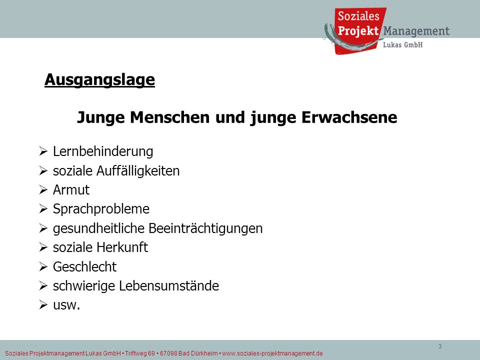Soziales Projektmanagement Lukas GmbH Triftweg 69 67098 Bad Dürkheim www.soziales-projektmanagement.de 3 Ausgangslage Junge Menschen und junge Erwachs