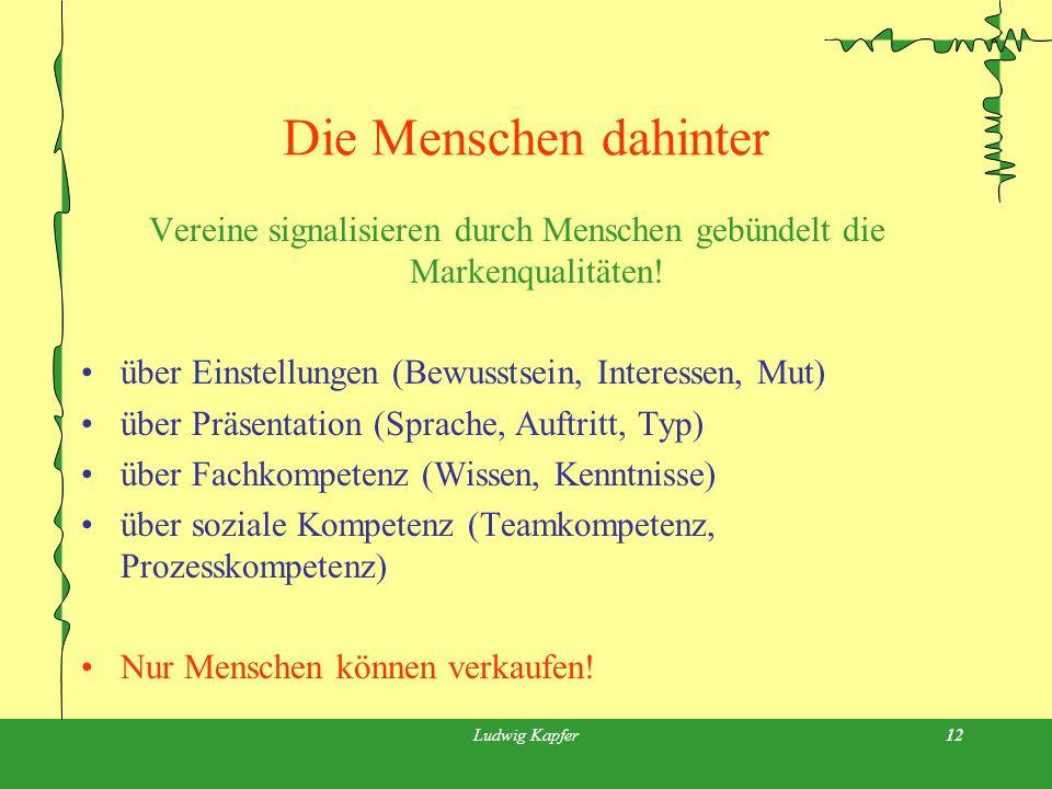 Ludwig Kapfer12 Die Menschen dahinter Vereine signalisieren durch Menschen gebündelt die Markenqualitäten.